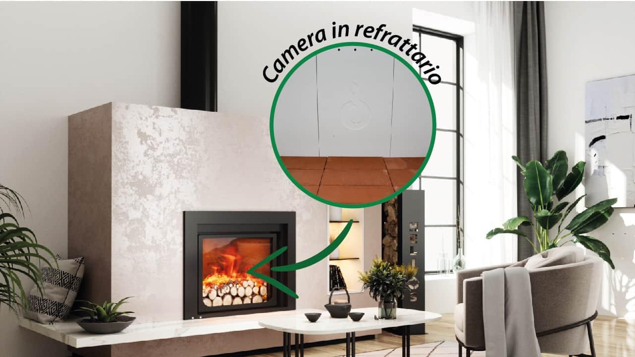 Camera di combustione in speciale refrattario bianco